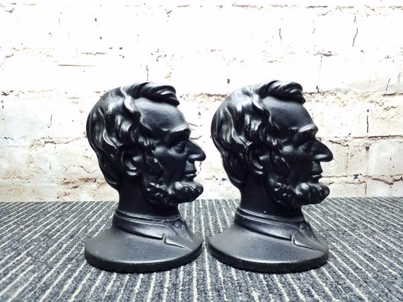 Vintage Pair of Abraham Lincoln Bust Robert Emig Cast Iron Bookends
