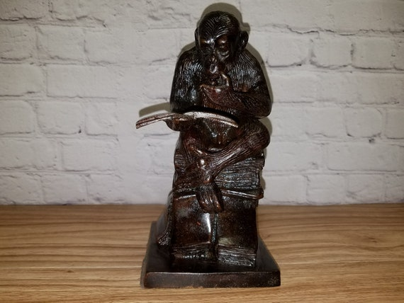 Antique Bronze Darwin Reading Monkey Statue Door Stop 7.5 Inches