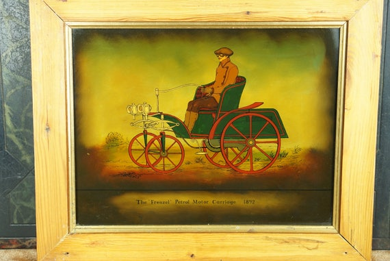 Reverse Painting Framed Glass Frenzel Petro Motor Carraige 1892