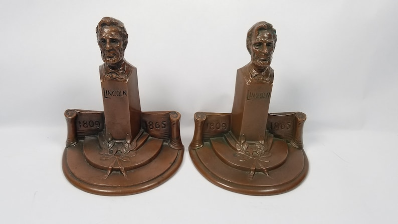 Rare Bronze President Abraham Lincoln Bookends Weidlich Bros image 0