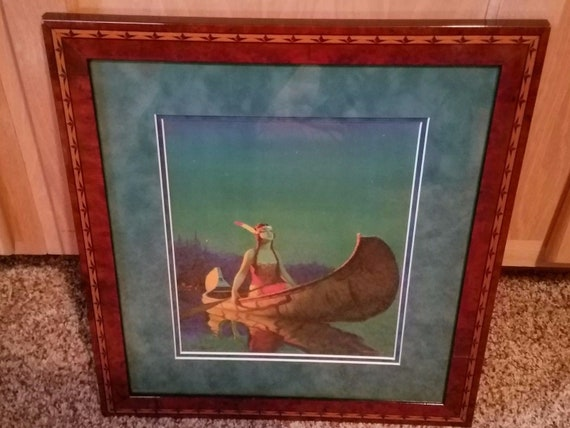 Edward Eggleston 1932 Framed Indian Maiden Print Starlight Tintogravure Bigelow