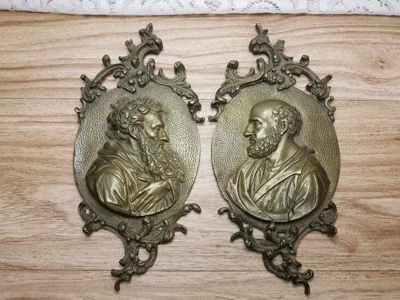 Pair Antique Rococo Bronze Epicurus & Socrates Greek Philosopher Profile Medallions