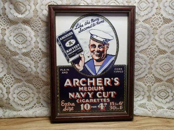Framed Archer's Navy Cut Cigarettes Sign or Advertisement