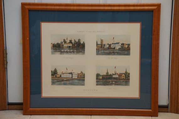 1851 Fores's Sporting Scraps Boating Hand Colored Museum Framed Plate 7