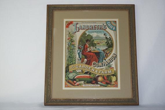 1884 Beautiful Landreth's Seed Co Framed Advertisement Catalog 100th Anniversary