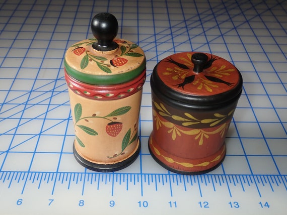 Pair of Small Wood Primitive Canisters by John Dierwechter Painted