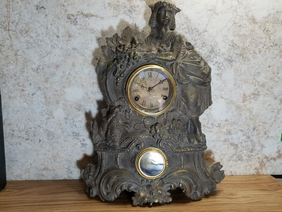 Large Nicholas Muller 1860s The Maiden Cast Iron Clock George Owens 67