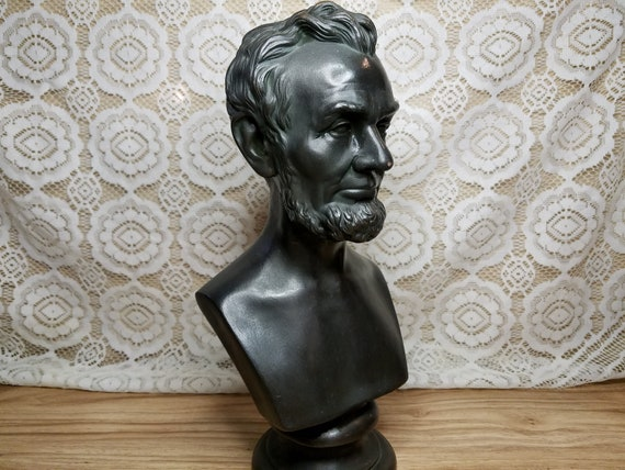 Heavy Copper Bust Abraham Lincoln Abe 14 Inch Signed Artist Monogram