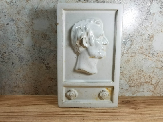 Architectural Salvage Abraham Lincoln Profile Brick Glazed Wall Plaque