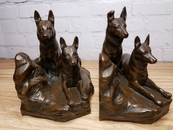 Jennings Bros Bronze German Shepherd Police Bookends 1930s