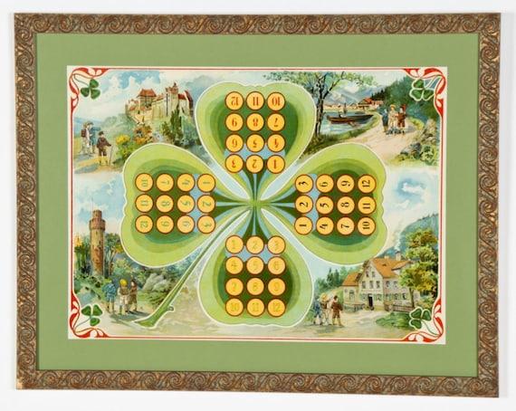 Vintage Framed Shamrock Chromolithograph Game Board