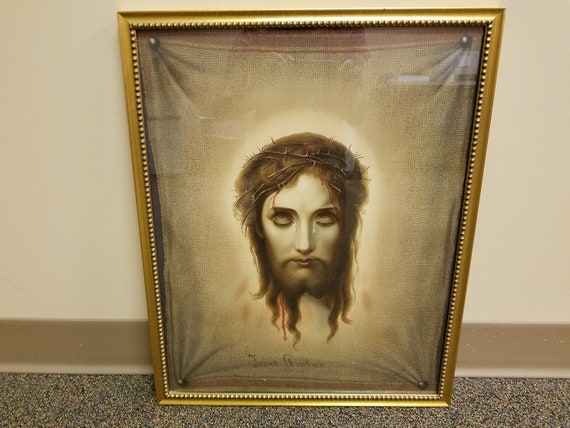 1876 Chromolithograph Jesus Christus by Martie Veronica's Veil  Illusion Print