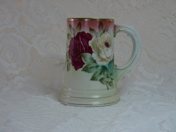 Vintage Rosenthal Bavaria Porcelain Tankard Stein With Rose Motiff Handpainted
