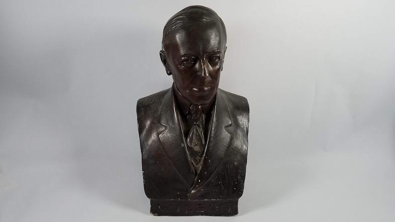 Rare 1919 Plaster Bust President Woodrow Wilson Signed H image 0