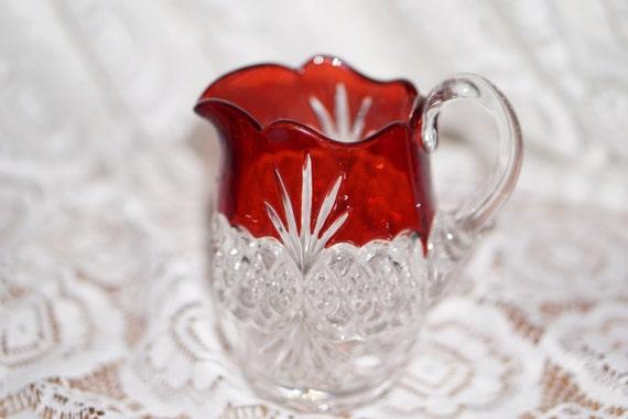 1890s Tarentum Glass Company Diamond Teardrop Atlanta Creamer Small Pitcher Ruby Flashed