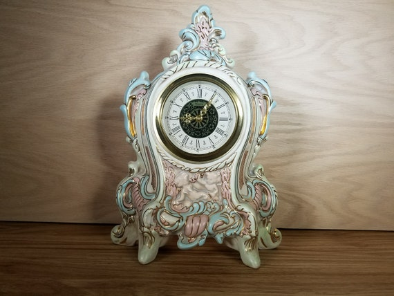 Vintage Narco West German Wind Up Rococo Mantle Clock Cherubs