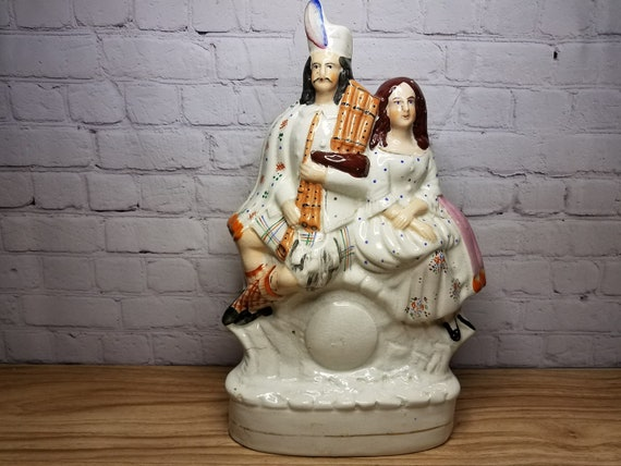 Large 19th c Staffordshire Scottish Couple with Bagpipes 13.75