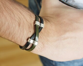 BRACELET homme cuir - bijoux pour hommes - cadeau pour lui, idée de cadeau - cadeau homme - bracelet en argent - Bracelet pour homme - cuir