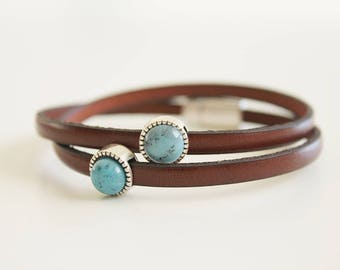 Turquoise bracelet, Birthday gift, Brown leather bracelet, women gift, jewelry for women, charm Bracelet, quote bracelet, gift for her