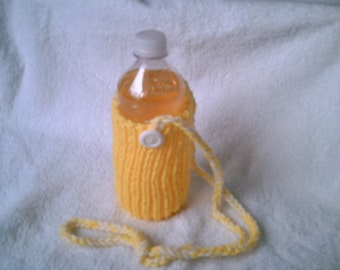 Knit Water Bottle Cozy in Sunshine Yellow
