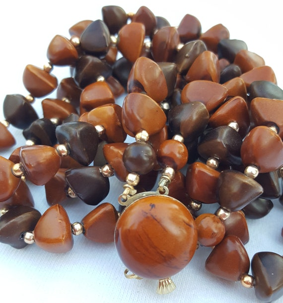 Mid Century Wood Look Plastic Bead Double Strand N