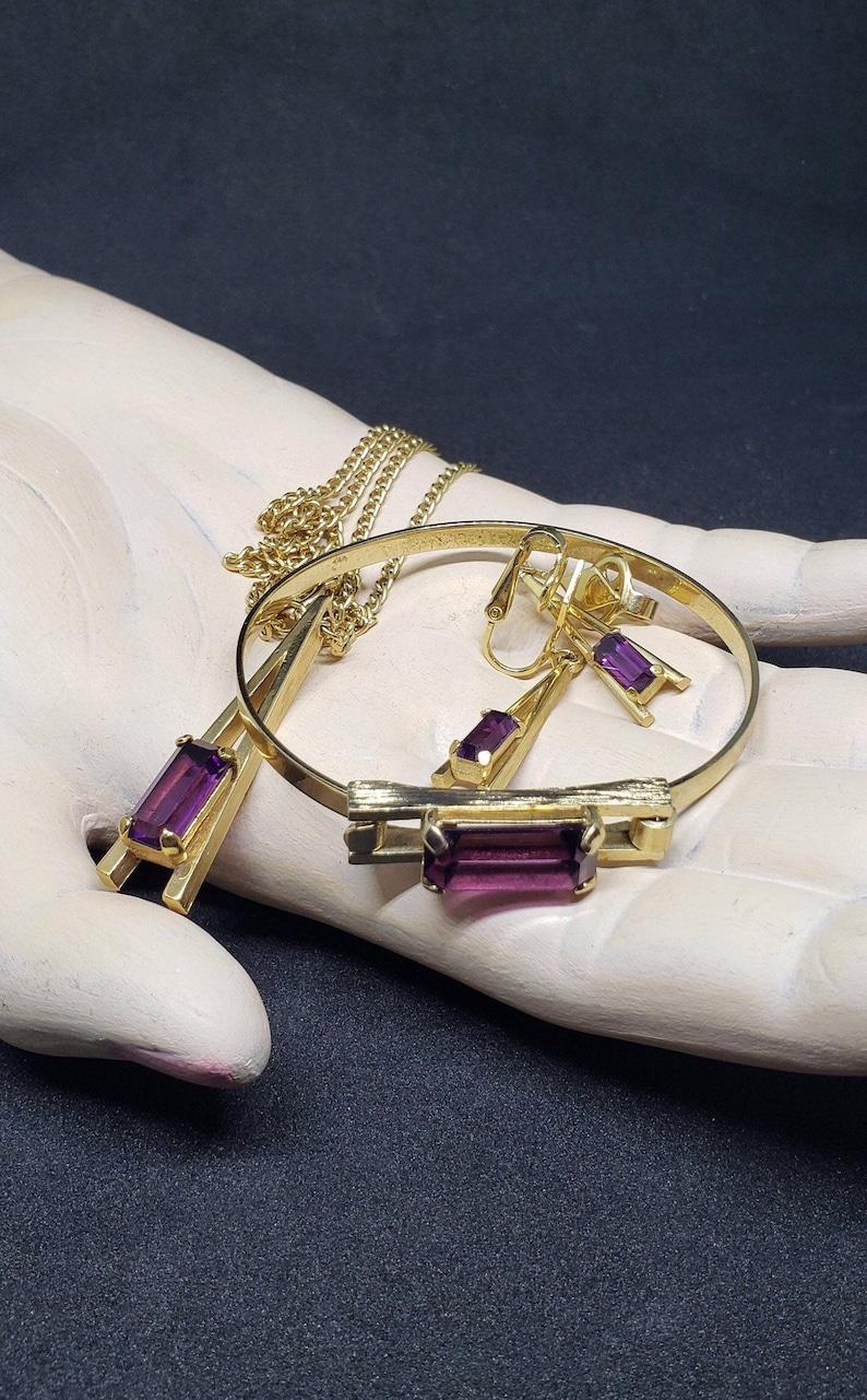 Vintage 1975 Avon Demi-Parure Plaza IV Amethyset Glass Jewelry Set