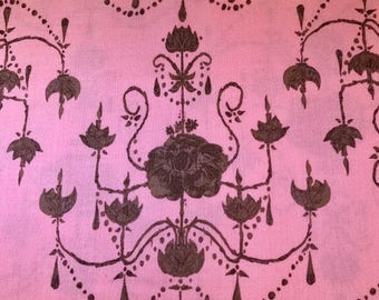 Pink fabric with chandelier. Free Spirit Fabrics. Olivia's Holiday.  Tina Givens.  Quilting Cotton Fabrics.  Choose your cut.