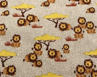 Fabric with little lions under a tree - Timeless Treasures- Cotton Quilting Fabric - Choose your own cut.