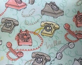 Fabric with rotary phones -Fabric with vintage phones - Talk To Me - Ink Arrow Fabrics - Quilting Cotton Fabrics - Choose your cut.