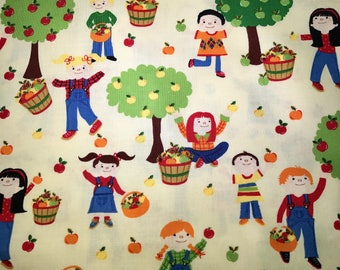 Fabric with kids in the farm.  Kids in the park.  Apple picking fabric.  Timeless Treasures.  Quilting Cotton Fabrics.  Choose your cut.