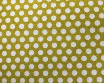 Polka Dots green fabric.  Creating New Traditions.  Mia Polka Dots. Quilting Cotton Fabrics.  Choose your cut.