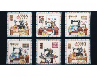 Panel Fabric with Sewing Machines - A Stitch in Time by Elizabeth Studios Fabrics - Quilting Cotton Fabric