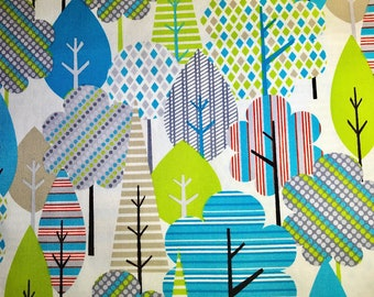 Fabric with blue and green trees.  Forest fabric.  Timeless Treasures.  Quilting Cotton Fabric.  Choose your cut.