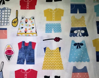 Fabric with Doll clothes.  Kids clothes.  Dear Stella.  Quilting Cotton Fabrics.  Choose your cut.