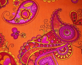 Orange fabric with pink swirls- Tribeca Designs- Timeless Treasures- Quilting Cotton Fabric- Choose your cut