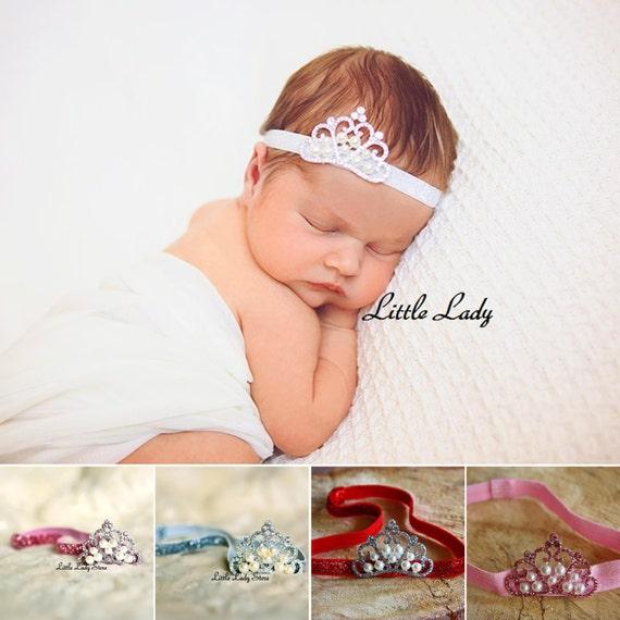 Baby Girl Headband Hairband Glitter Tiara Pearls Crown Rhinestone Christening