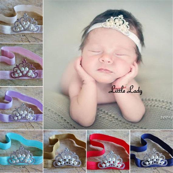 Baby Girl Newborn Tiara Headband Hairband Glitter Rhinestone Christening Baptism