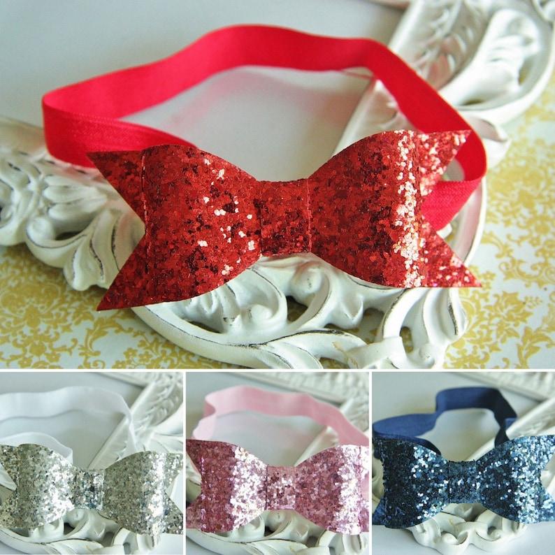 Christmas Glitter Sparkle Sequin Bow Elastic Headband Hair Band Baby Girl Party