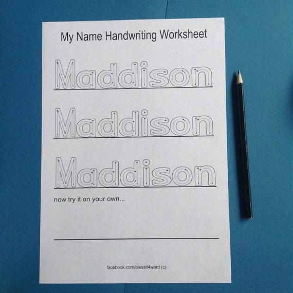 Personalisierte mein Name Handschrift Arbeitsblätter | Etsy