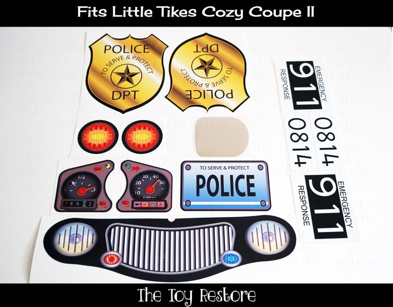 Replacement Stickers Police Decals fits Little Tikes Tykes Custom Cozy  Coupe II Ride On Car (No Eyes) Badge