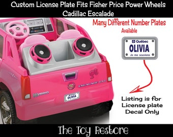 One Custom License Plate : New Replacement Decals Stickers fits Fisher Price Power Wheels Escalade Quebec QU