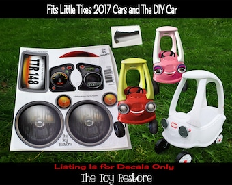 The Toy Restore Replacement Stickers fits 2017 Little Tikes Custom Cozy Coupe Car Headlight Decals design