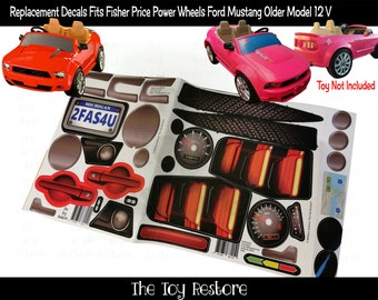 The Toy Restore Replacement Stickers fits Fisher Price Power Wheels Ford Mustang older model Red