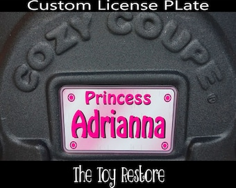 Pink Princess Custom License Plate : New Replacement Decals Stickers for Little Tikes Tykes Cozy Coupe Car