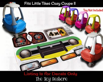 The Toy Restore Replacement Stickers fits Little Tikes Tykes Cozy Coupe II Car Custom Jungle Dinosaur SUV