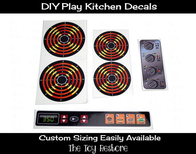 DIY Play Kitchen Decals 4 Burners dials Oven Panel  Eye Stove image 0