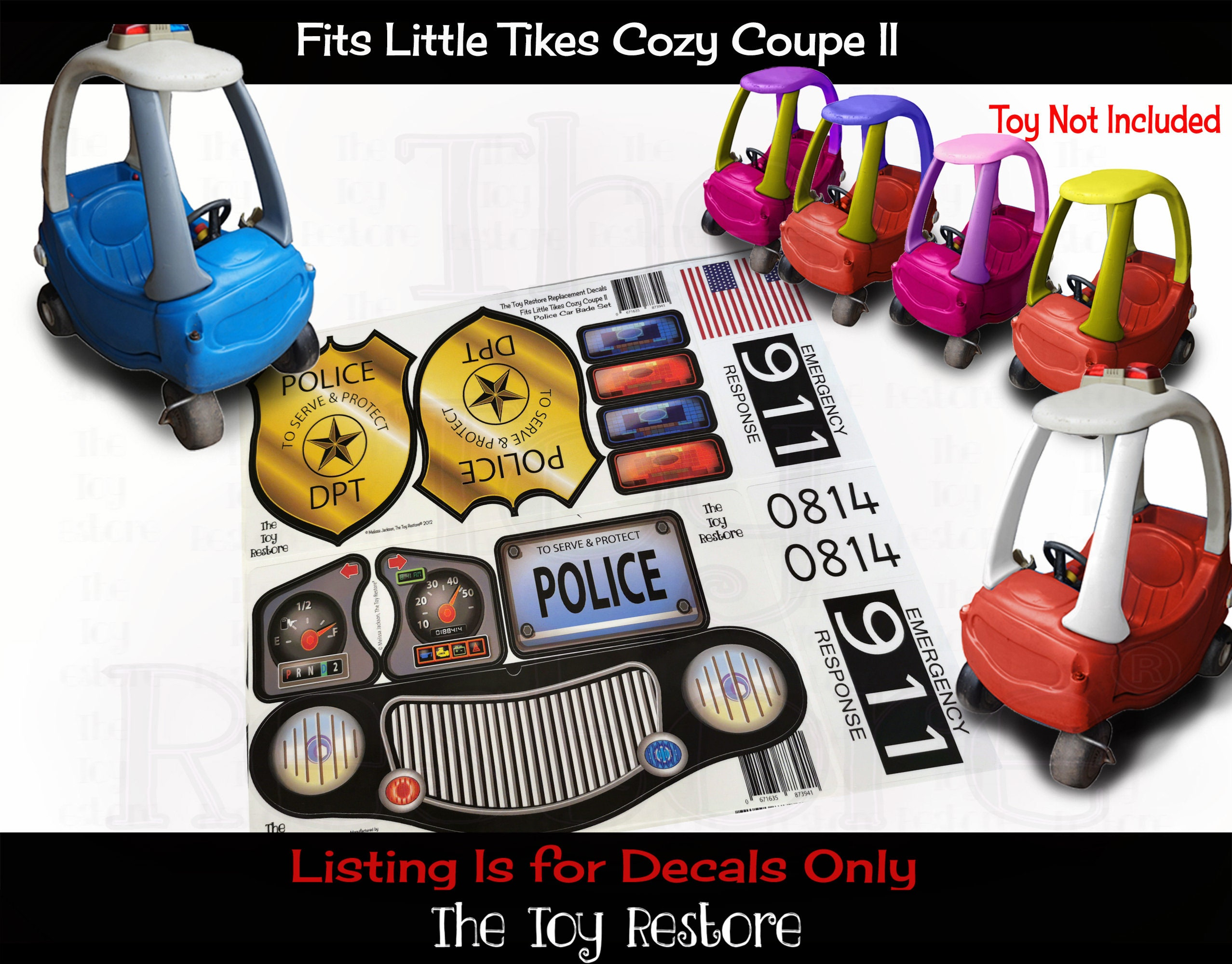 Replacement Stickers Police Decals Fits Little Tikes Tykes Custom Cozy Coupe Ii Ride On Car [ 2000 x 2555 Pixel ]
