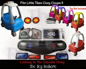 The Toy Restore Police Decals Replacement Stickers fits Little Tikes Custom Cozy Coupe II Patrol Cop Car ride on