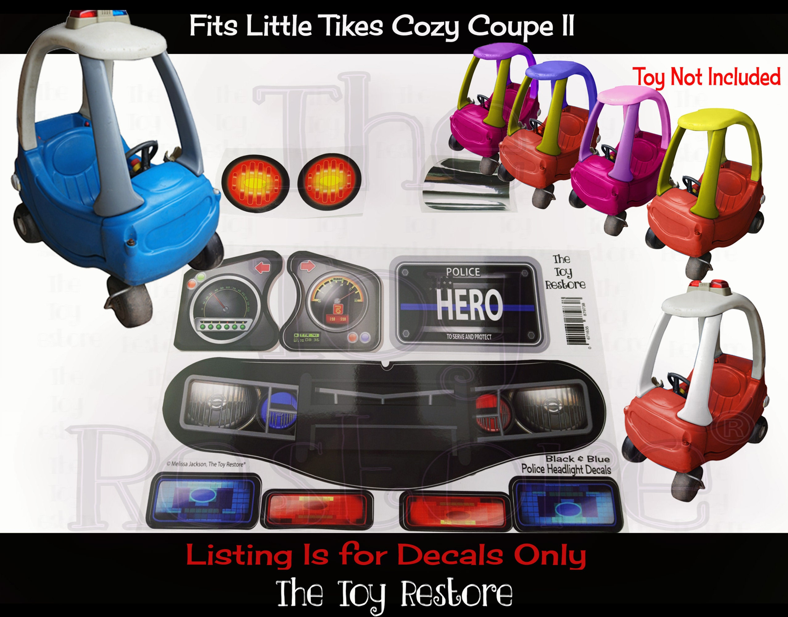 The Toy Restore Police Decals Replacement Stickers Fits Little Tikes Custom Cozy Coupe Ii Patrol Cop [ 2000 x 2555 Pixel ]