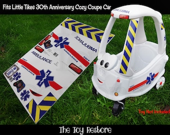 The Toy Restore Replacement Stickers Ambulance Decals Fits Little Tikes 30th Anniversary Cozy Coupe Car